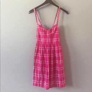 pink plaid hollister dress size M (B40)